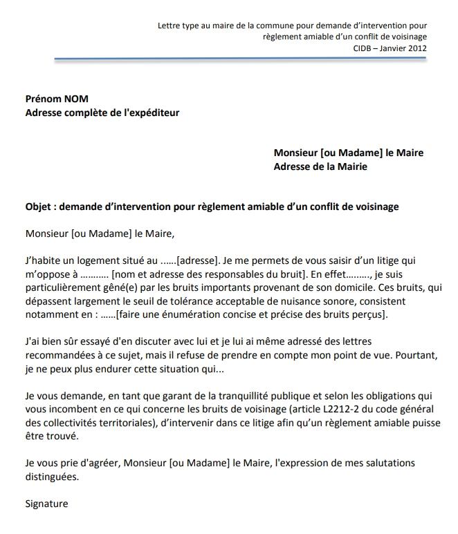 Bruits Modele Lettre Au Maire Vos Nouvelles Du Val D Oise